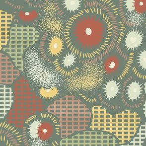 Inspiring Dreams- Coral or Floral, Anemone or Abstract- Mustard, Rust, Terra Cotta, Light Sage, Green- Artichoke Background- Large Scale