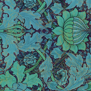 William Morris ~ St. James or Growing Damask ~ Night Garden ~ Rotated