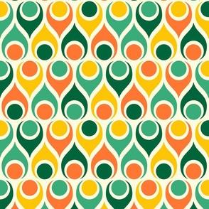 Retro 70s atomic teardrops circles colorful orange, green mid-century Furniture Wallpaper