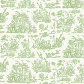 Marseilles Toile  ~ Grenouille on Off-white