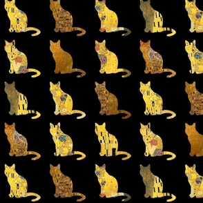 Golden Klimt Cats on Black
