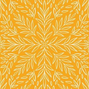Sunburst Botanical Damask Yellow Wallpaper