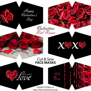 Red roses Valentine's face mask cut out panel