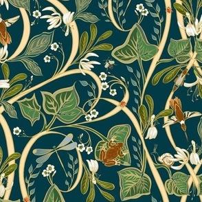 Royal Garden Art Nouveau | Sm | Deep Teal #023b45 + Cream