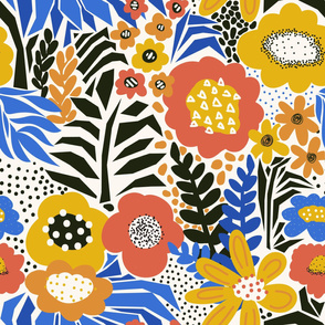 Papercut Flowers Gold Blue Orange Black