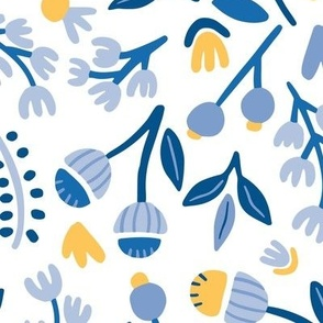 Blue And Yellow Floral Illustration Toss
