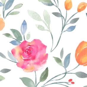 Watercolor Garden Floral Vine
