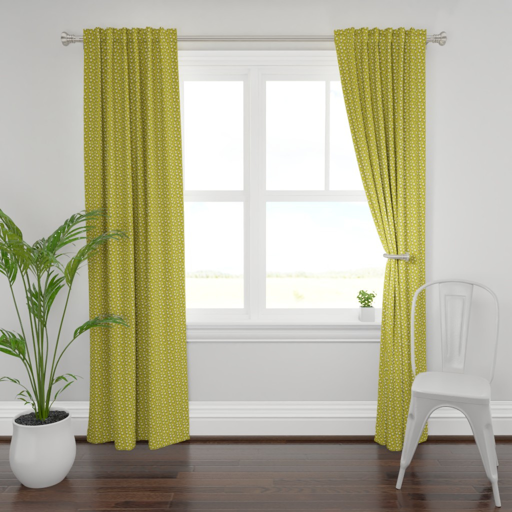 Plymouth Curtain Panel featuring Clover & Bee, gold by cindylindgren