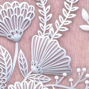 Paper Cut Flowers Faux Texture- Extra Large Scale- Romantic Rococo Floral Wallpaper- Home Decor- Pink- Mauve- Jumbo Scale Botanical Wallpaper