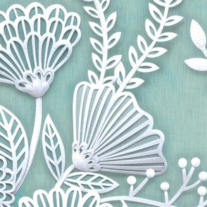 Paper Cut Flowers Faux Texture- Extra Large- Jumbo Scale Floral Wallpaper- Home Decor- Mint Green- Jumbo Scale Botanical Wallpaper