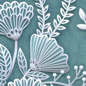 Paper Cut Flowers Faux Texture- Large Scale Floral Wallpaper- Home Decor-Pine Green-Teal