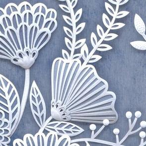 Paper Cut Flowers Faux Texture- Large Scale Floral Wallpaper- Home Decor-Slate- Jumbo Scale Botanical Wallpaper