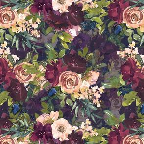 "16"" Burgundy Watercolor Floral on Purple"