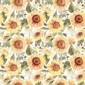Watercolor sunflowers on white - large scale