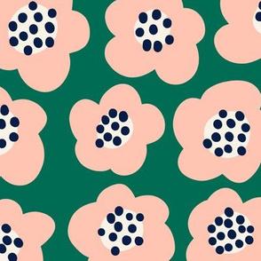 Blob Flowers - Large Scale - Ultramarine Green