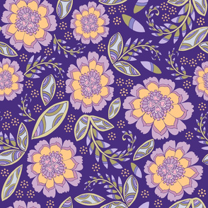Fantasy Floral, Wallpaper or Bedding size, XL, purple