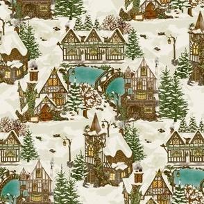 Snowy Christmas in Tudor Village