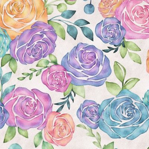 Loose Watercolor Rose Florals in Rainbow Hues on Eggshell White