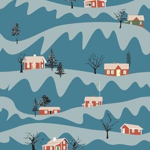Swedish stugas in the snow
