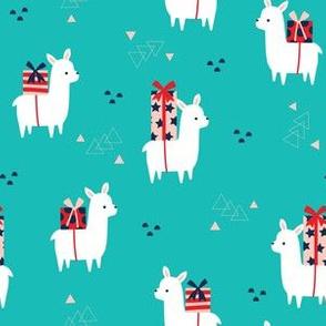 Christmas Llamas blue large
