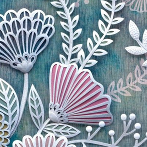 Paper Cut Flowers Faux Texture- Large Scale- Home Decor- Multicolored- Teal, Pink, Yellow and White- Jumbo Scale Botanical Wallpaper