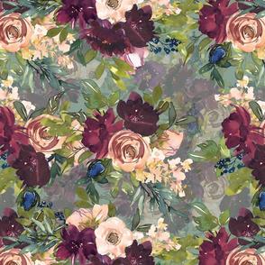 "16"" Burgundy Watercolor Floral on Lt Teal"