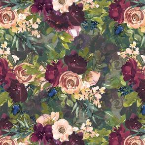 """16"""" Burgundy Watercolor Floral on Dark Teal"""
