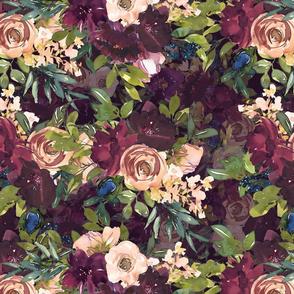 "16"" Burgundy Watercolor Floral on Burgundy"