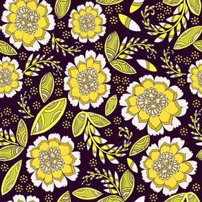 Fantasy Floral, Wallpaper or Bedding size, XL, deep brown
