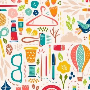 Create Joy // Happy Maker Wallpaper // © ZirkusDesign // Art, Sewing, Quilting, Crafting, Knitting, Sunshine, Butterfly, Rainbow, Coffee, Printmaking, Hot Air Balloon, Floral, Bird
