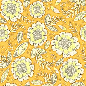 Fantasy Floral, Wallpaper or Bedding size, XL, goldenrod