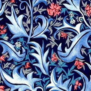 Hand Painted Organic Art Nouveau Vines