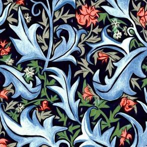 Hand Painted Wax Art Nouveau Vines