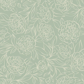 Peony Garden - sage green- large scale