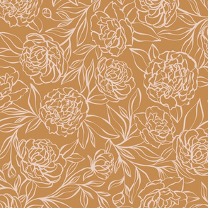 Peony Garden - gold and blush pink - large scale