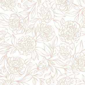 Peony Garden - blush pink and white - large scale