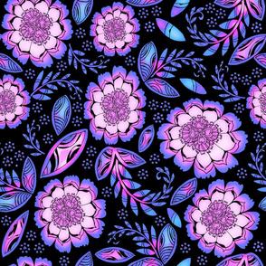 Fantasy Floral, Wallpaper or Bedding size, XL, violets and black
