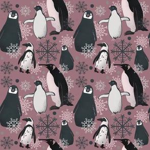 Penguin Pattern - Dusty Rose