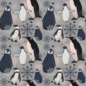 Penguin Pattern - Gray