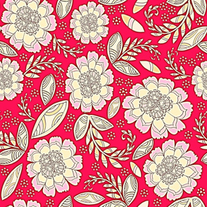 Fantasy Floral, Wallpaper or Bedding size, XL, red