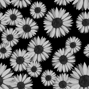 Sunflowers Pattern - Black and White2