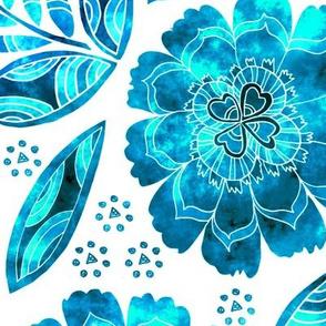Fantasy Floral, Wallpaper or Bedding size, XL, blue tones