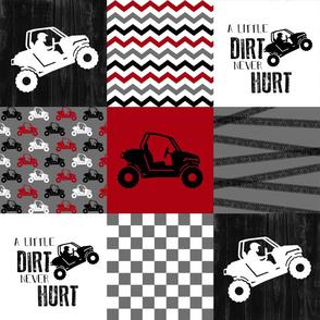 SxS//A little dirt never hurt//Red - Wholecloth Cheater Quilt