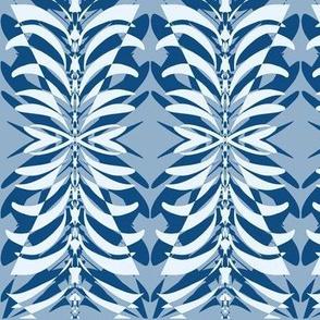 Moonlit Leaf Lace Moths on Slate Blue