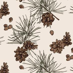 Pine cone fir branch