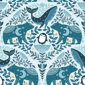Blue Arctic friends, penguin bear and whale, art nouveau floral