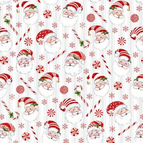 Peppermint Santas on  gray stripe