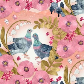 Dancing Pigeons Floral Heart / Small Scale