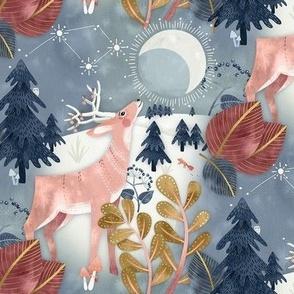 Christmas Deer Moon Woodland / Small Scale