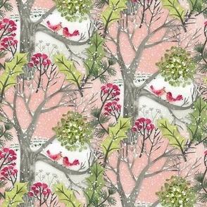 Christmas Mistletoe Kiss Birds Landscape / Tiny Scale